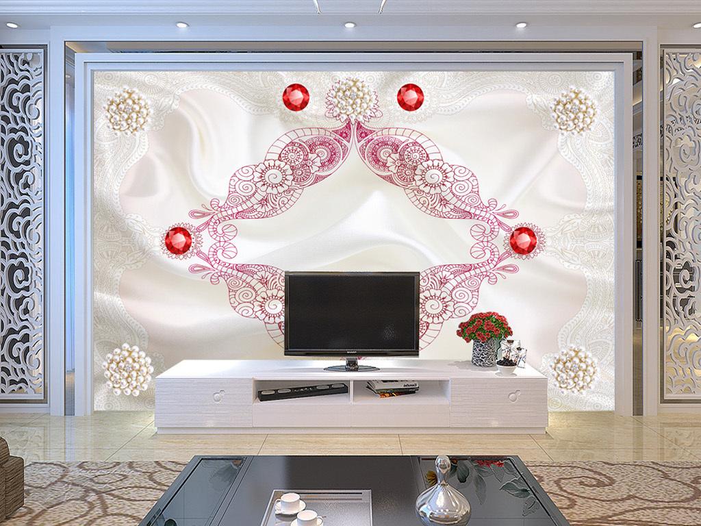 丝绸珠宝电视背景墙