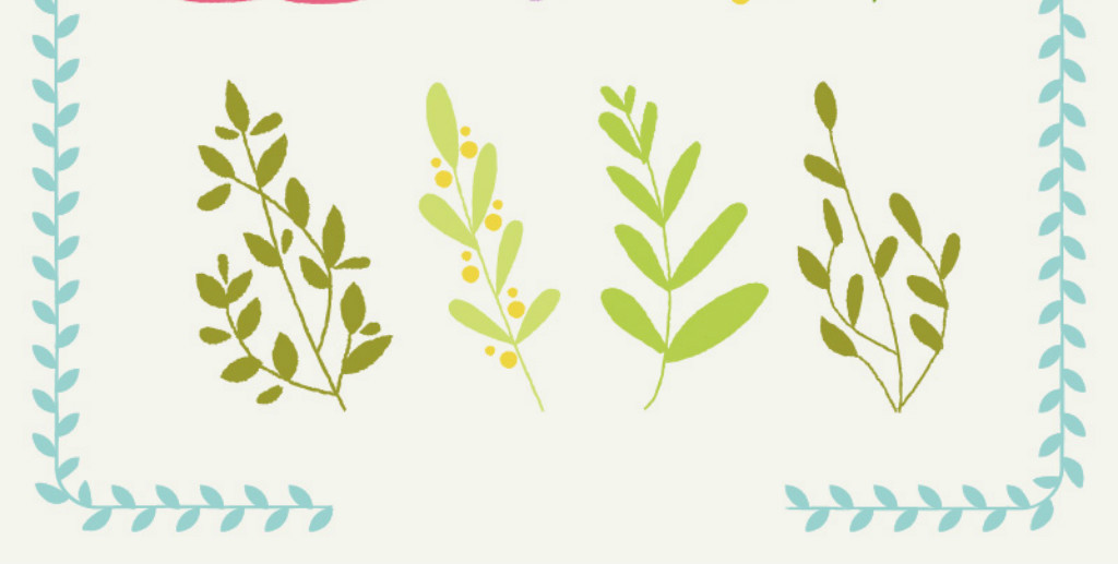 绿叶                                  花朵小花手绘