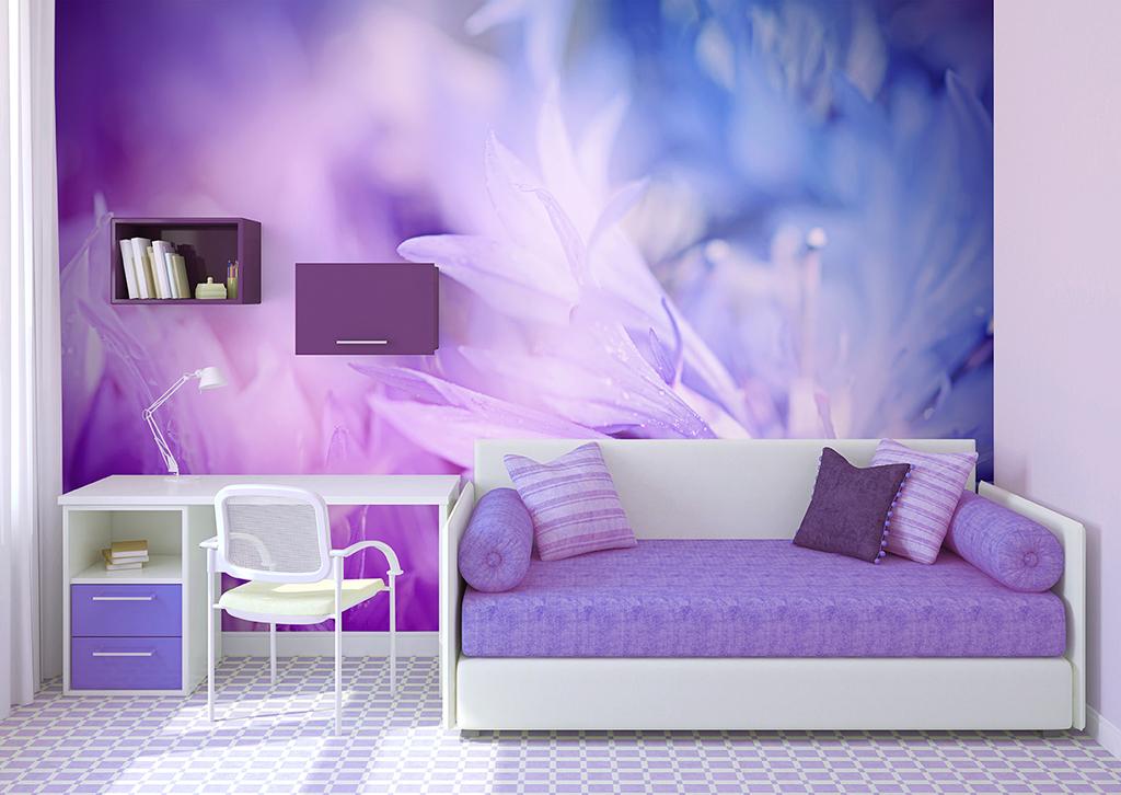 自然紫色花卉电视背景墙