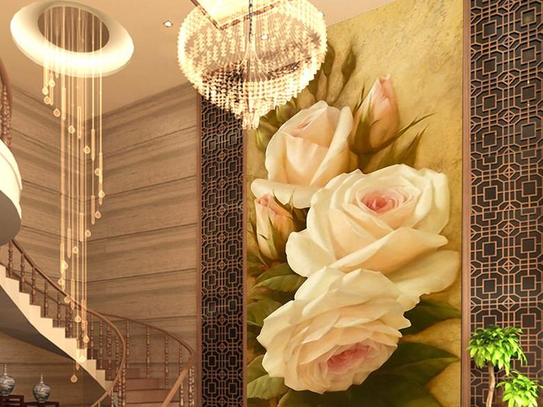魅力玫瑰花欧式复古宫廷绘画客厅玄关装饰画