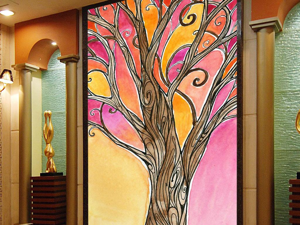 欧美现代家居室内客厅玻璃水彩水彩画图片唯美奢华手绘水彩画墙画壁画