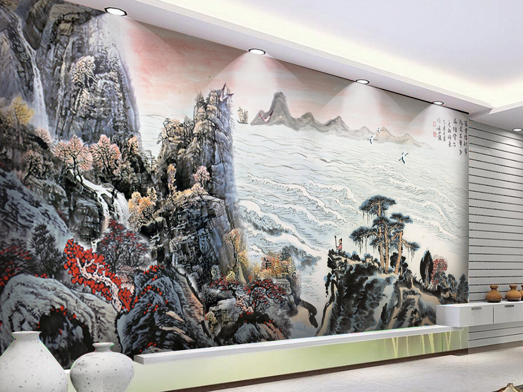国画水墨画大海风景画古代画背景墙