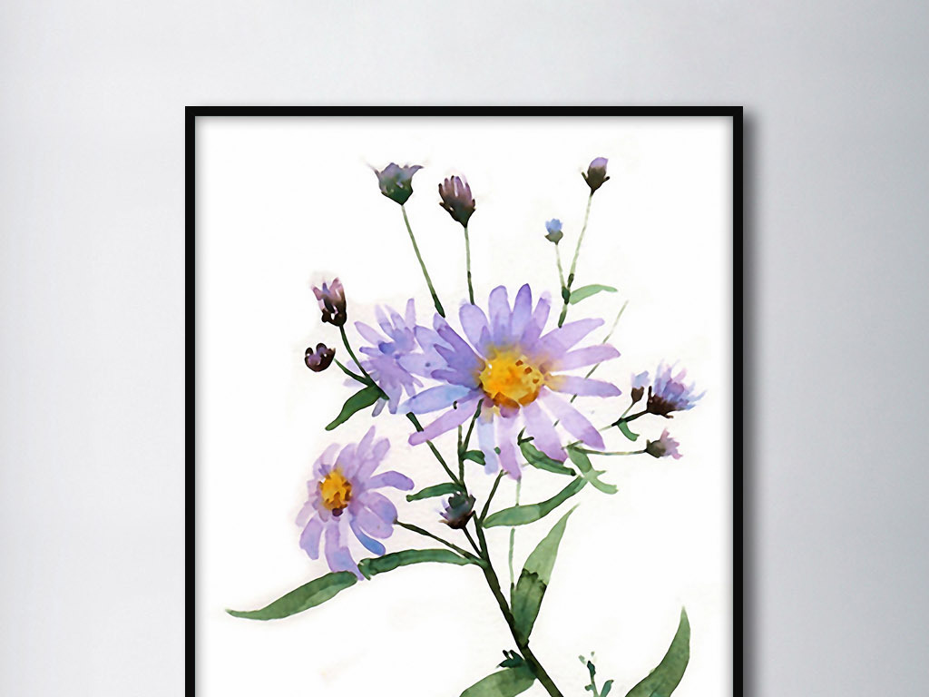 野菊花北欧小清新欧式手绘现代装饰无框画