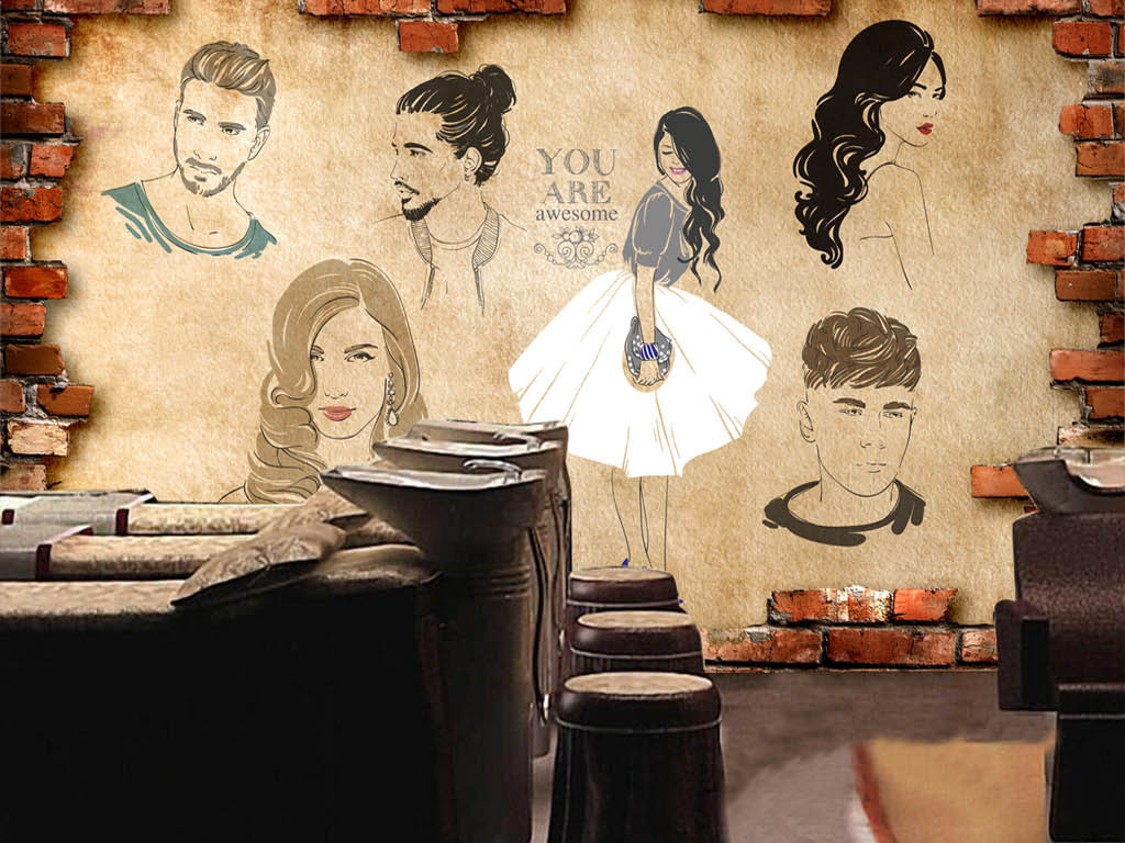 发型海报发型图片宣传图墙画背景墙电视背景墙图片玻璃电视背景墙图片