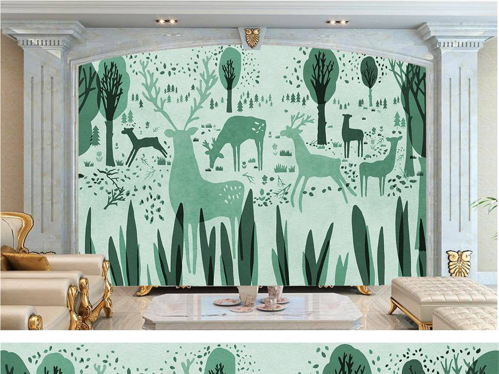 背景墙|装饰画 电视背景墙 手绘电视背景墙 > 欧式花纹森林小鹿抽象树
