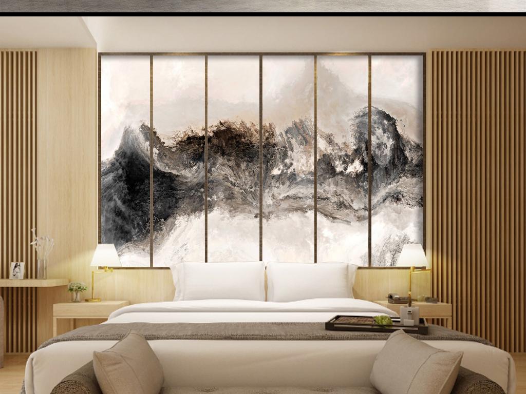 新中式手绘山水国画壁纸背景墙