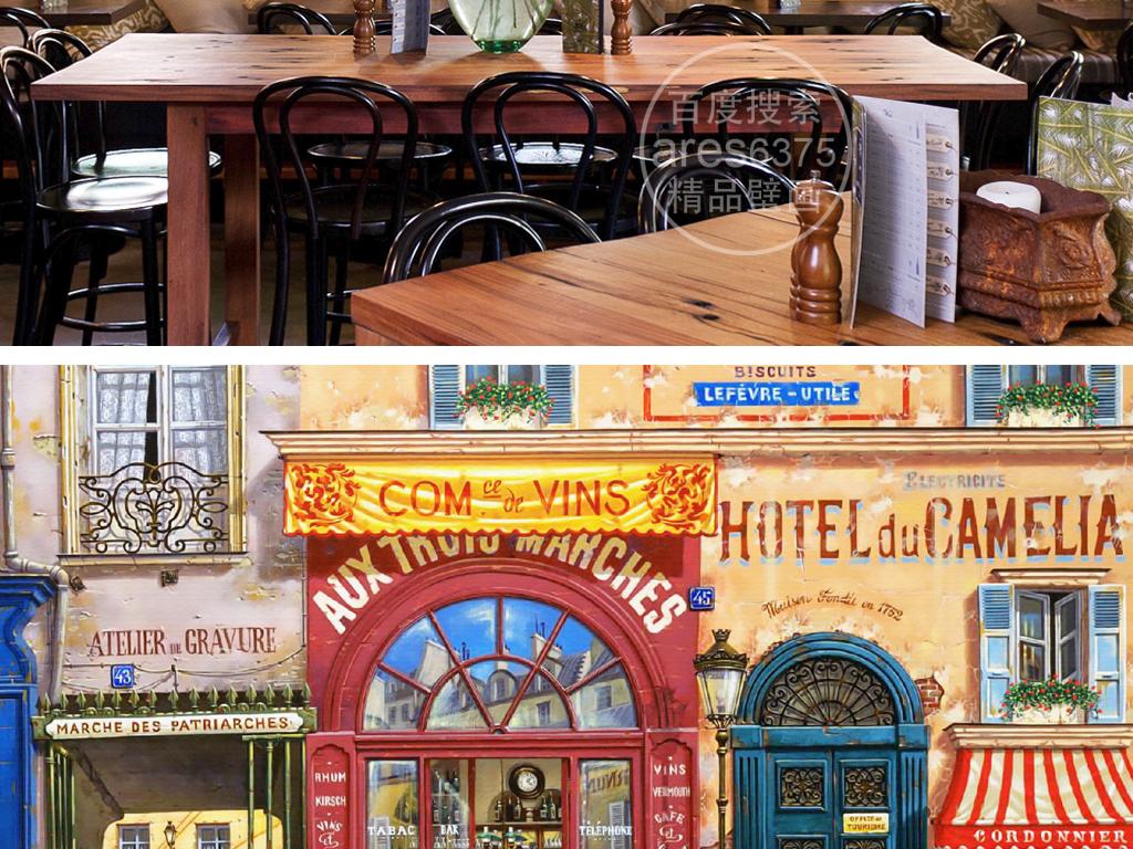 手绘欧式建筑街头咖啡店壁画背景墙