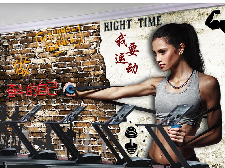 复古创意美女健身房瑜咖馆美式壁画背景墙
