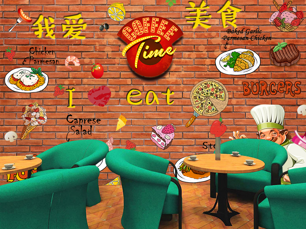复古怀旧高清手绘特色美食餐饮背景墙