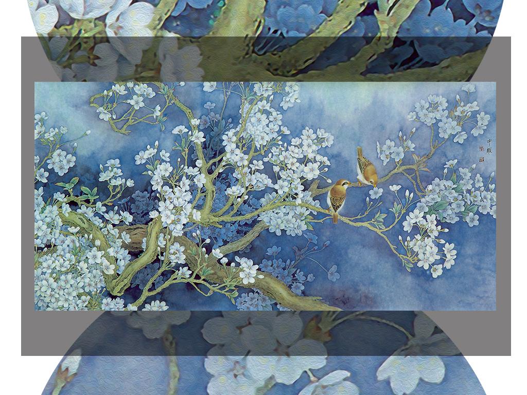 3d油画手绘花鸟兰花电视背景墙