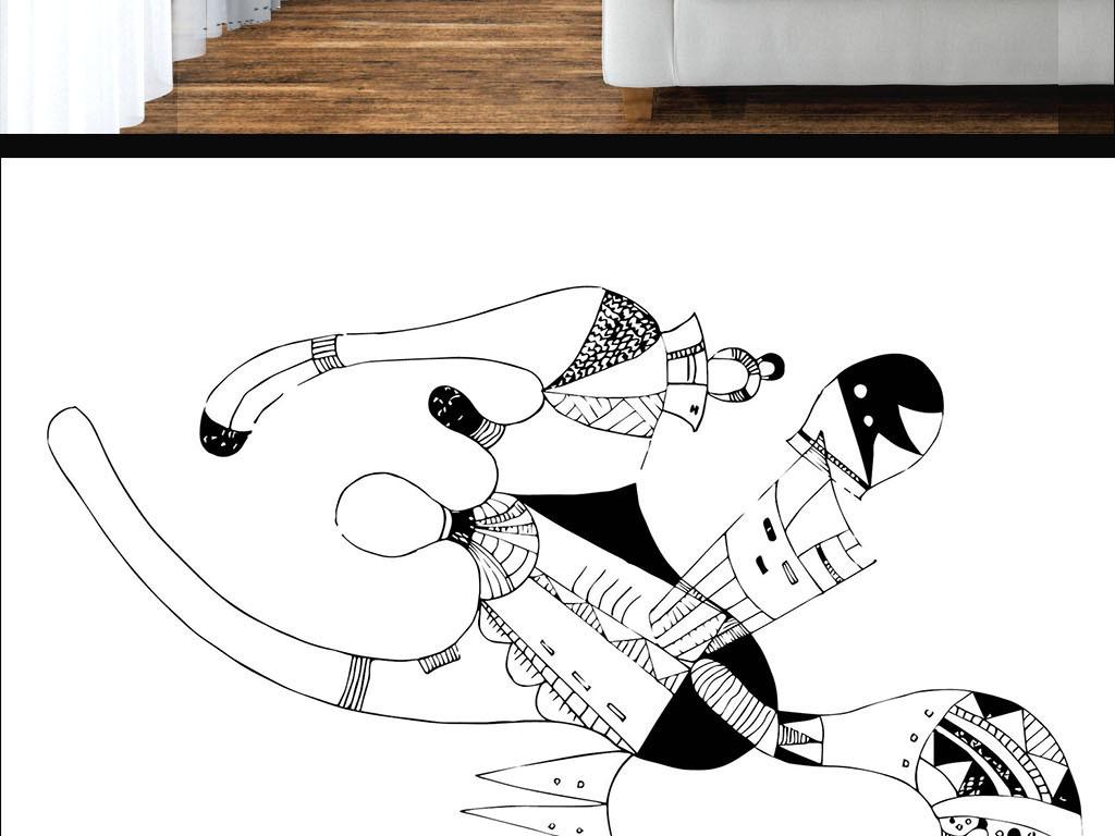 现代简约手绘黑白涂鸦墙纸