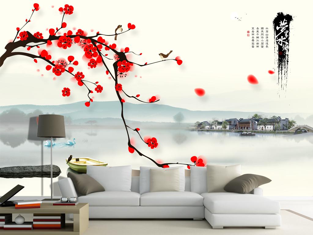 新中式水墨山水画忆江南背景墙电视图片