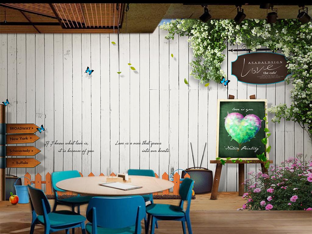 木板木牌路标指示牌白色花朵花卉画架