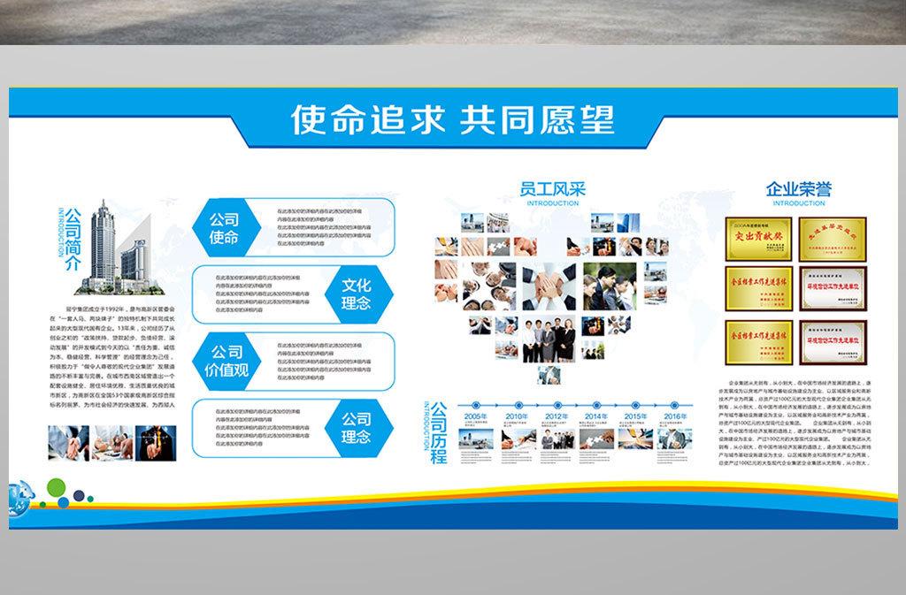 企业文化形象墙公司简介展板cdr模板