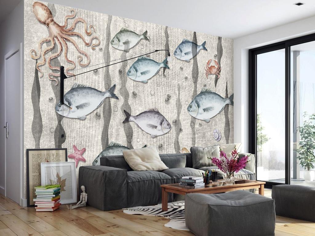 背景墙 电视背景墙 手绘电视背景墙 > 手绘海底世界背景墙装饰画