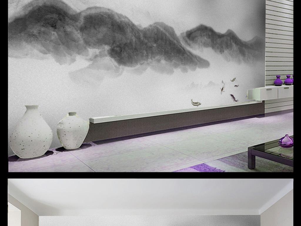 新中式抽象手绘水墨山水画装饰画背景墙