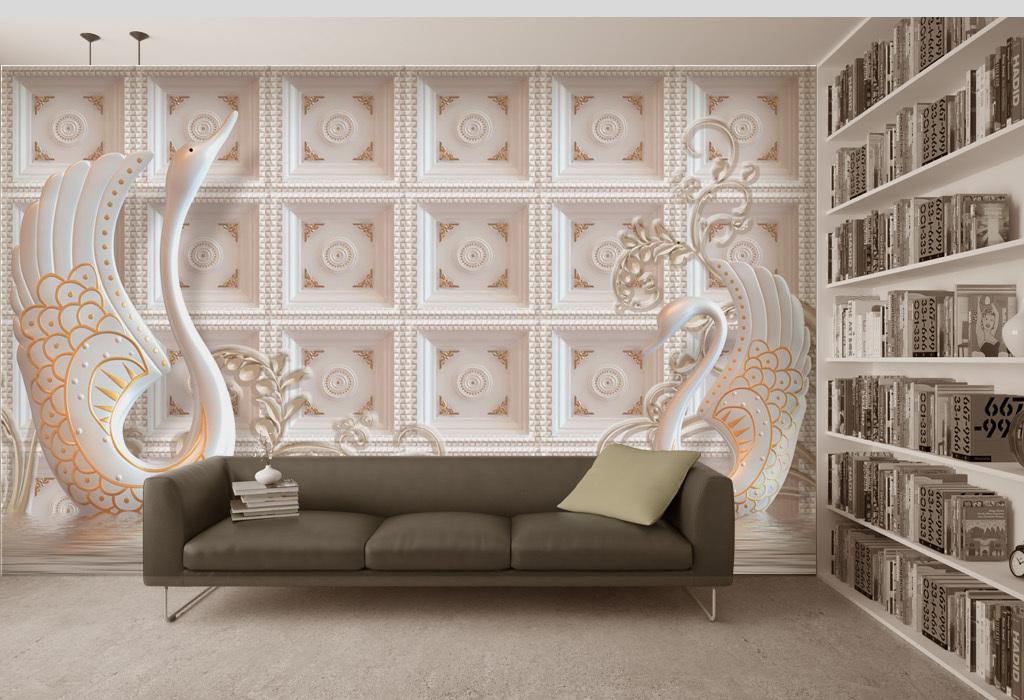 我图网提供精品流行天鹅背景墙欧式壁画