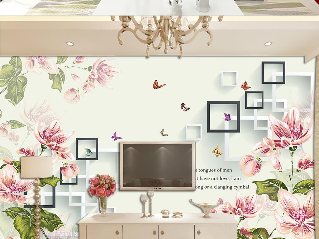 欧式唯美花卉3d手绘牡丹花电视背景