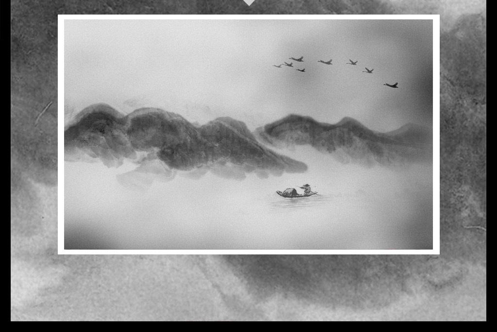 新中式抽象手绘水墨山水鸟画装饰画背景墙
