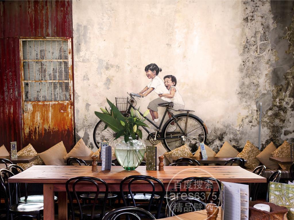 复古怀旧涂鸦骑自行车的小孩个性壁画背景墙