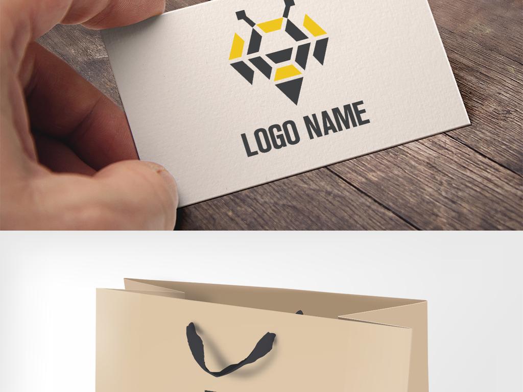 创意手绘黄蜂蜜蜂服装鞋包餐饮logo标志