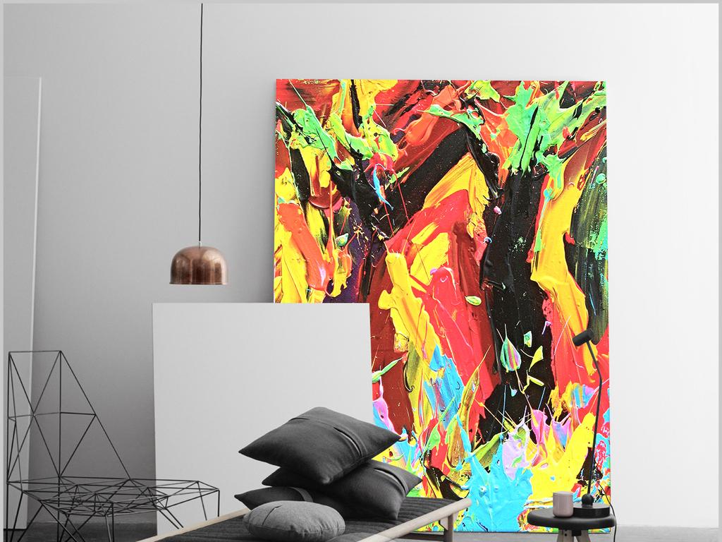 唯美现代简约手绘抽象涂鸦客厅装饰画三联画