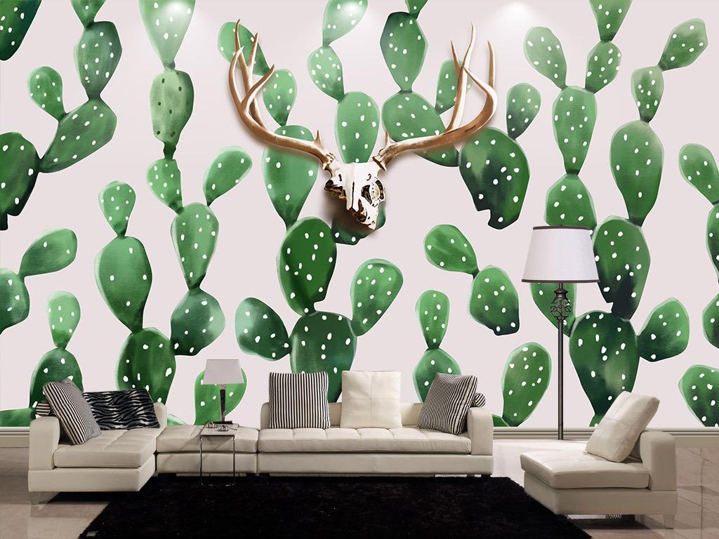 手绘北欧风格鹿头仙人掌背景墙壁画图片