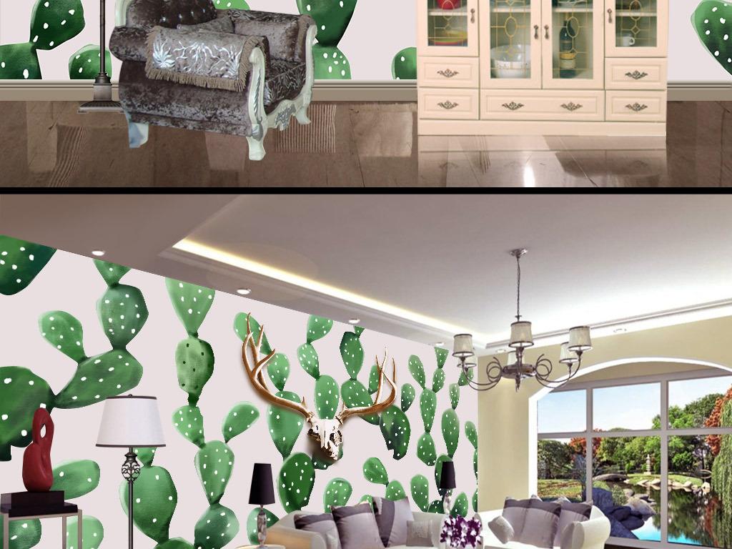 手绘北欧风格鹿头仙人掌背景墙壁画