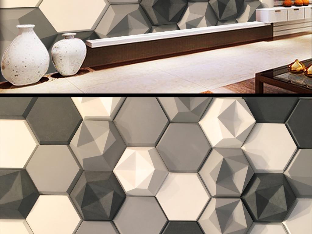 设计作品简介: 3d立体几何工业壁纸背景墙