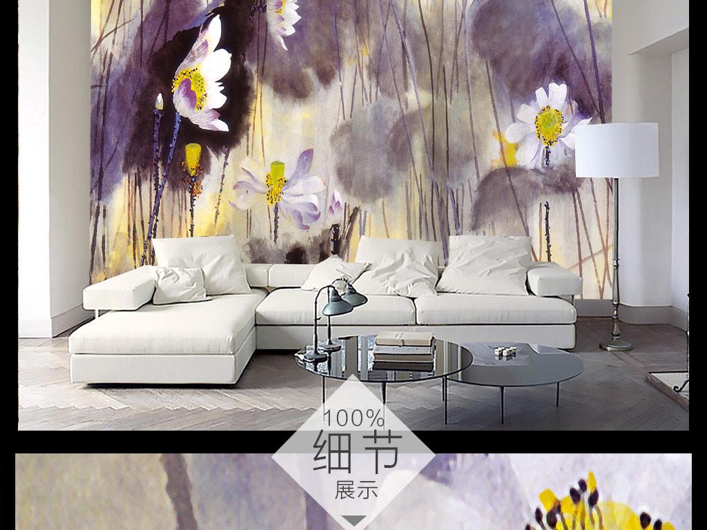 新中式意境抽象手绘水墨荷背景墙装饰画1