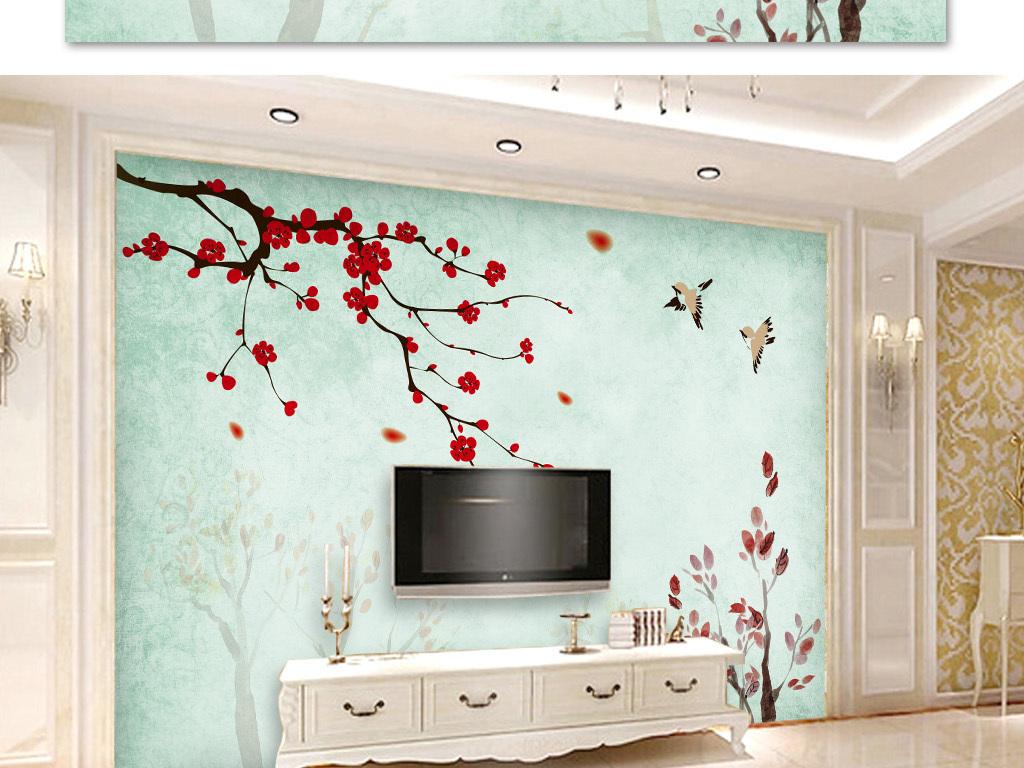 梅花手绘花鸟电视背景工笔中式背景墙