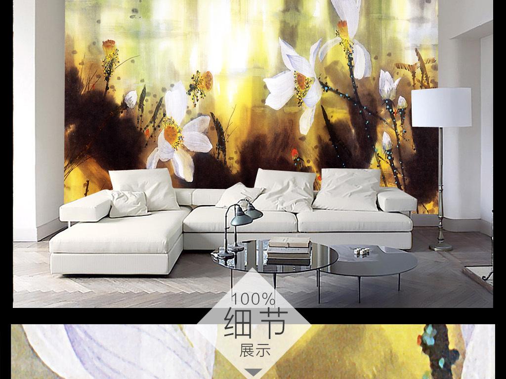 新中式意境抽象手绘水墨荷背景墙装饰画5