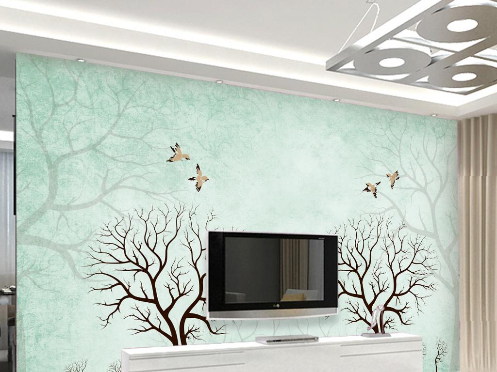 复古做旧树影手绘背景墙