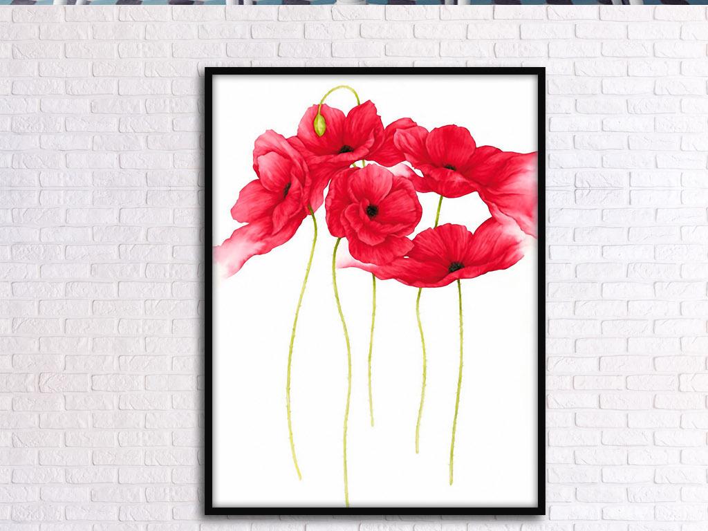 水彩画挂画图片设计花卉红色欧式花卉虞美人欧式花卉装饰画北欧家居
