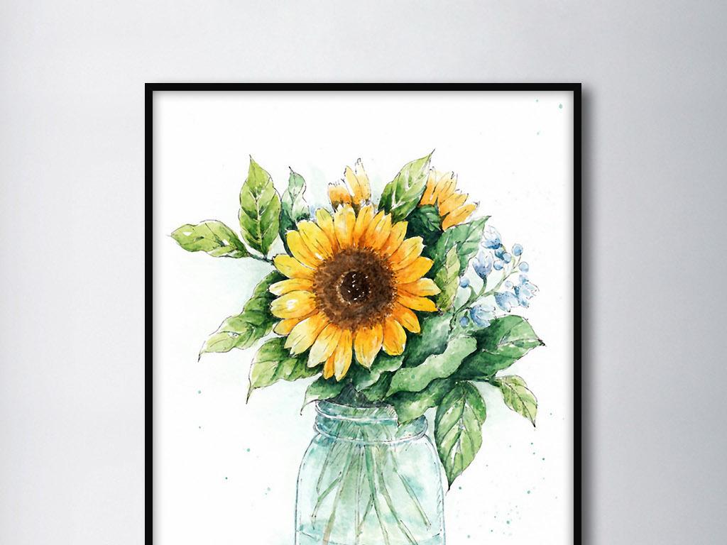 向日葵和野花欧式小清新北欧手绘家居装饰画