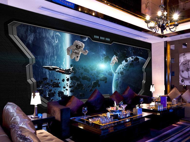 宇宙太空船3D形象墙