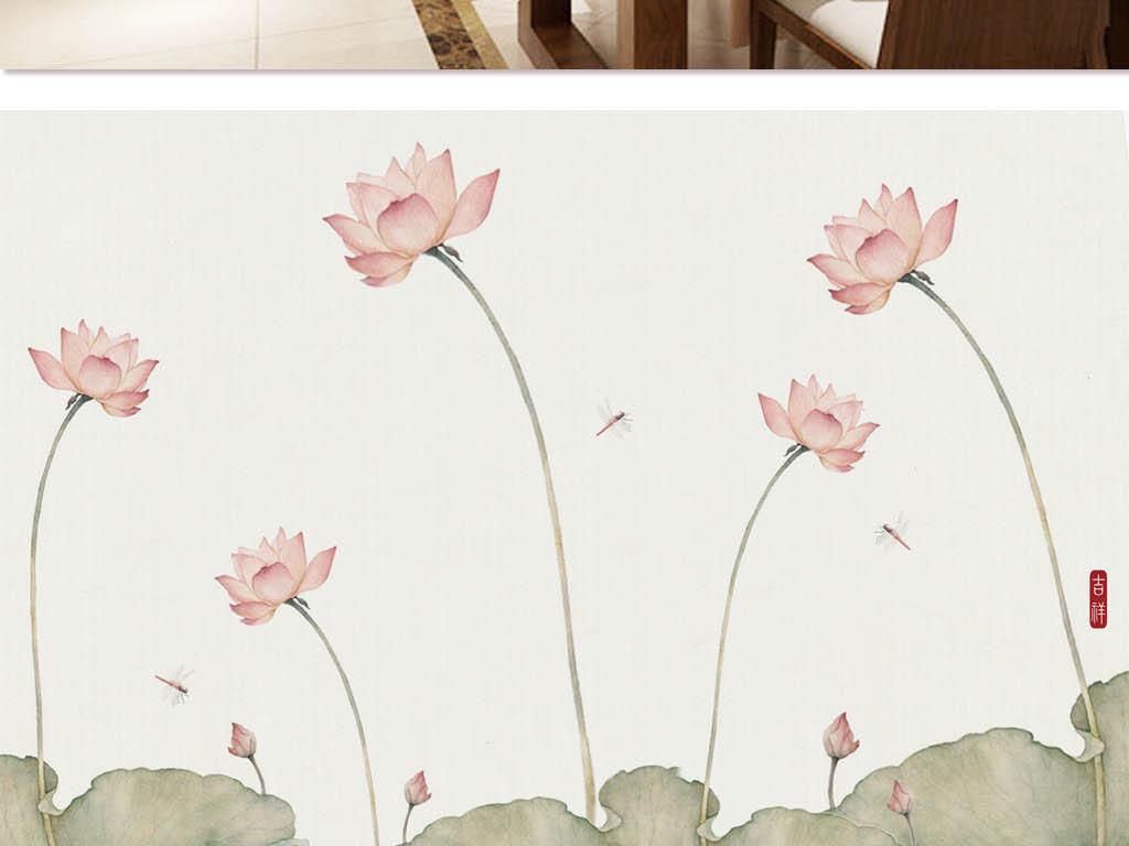 背景墙|装饰画 电视背景墙 中式电视背景墙 > 淡雅禅意荷花工笔画壁画图片