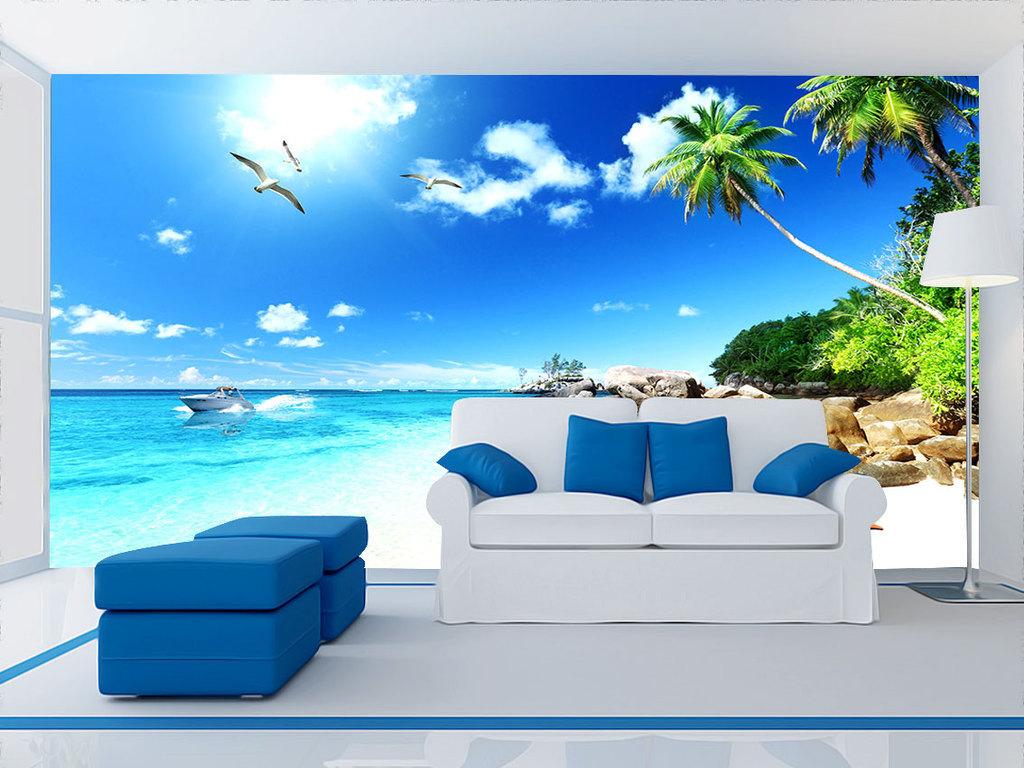 3d海滩风景电视背景墙