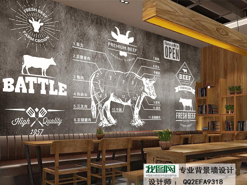 水泥墙手绘西餐厅牛排自助餐厅烤肉背景墙