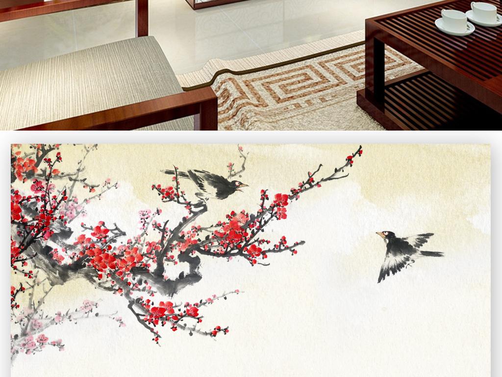 中式水墨腊梅梅花手绘背景墙