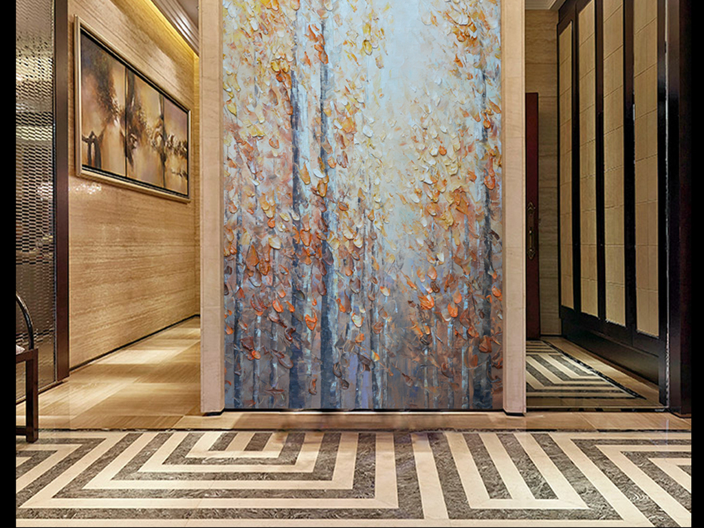 树林立体树林手绘手绘立体画刀艺术画卷轴画挂画墙画长城刀画中国刀画