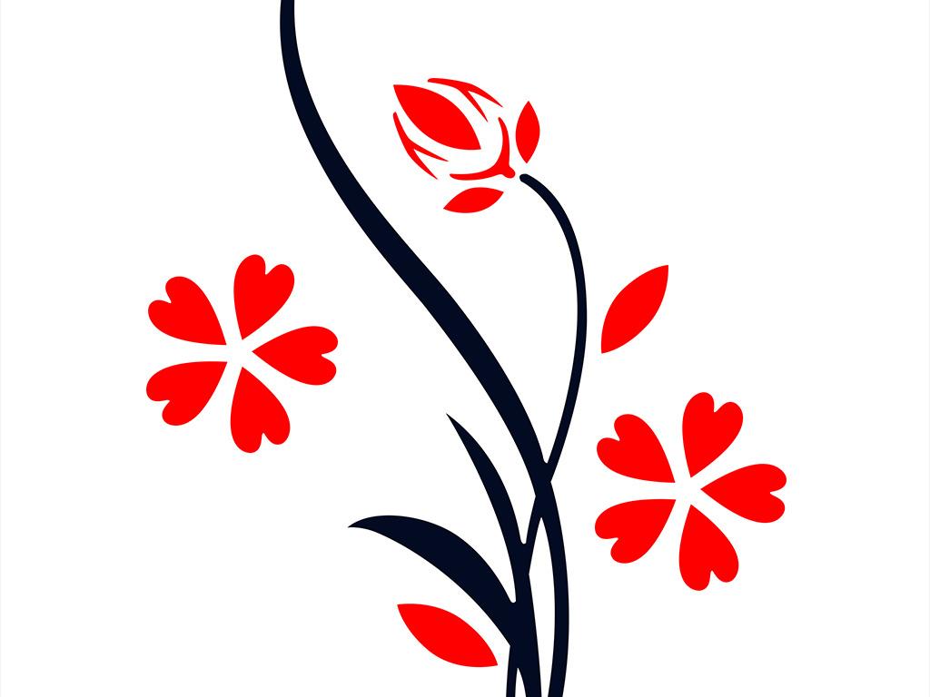 矢量简约手绘花瓶花朵玄关背景墙装饰画