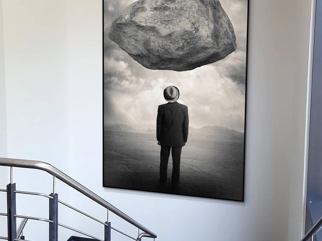 壁画走廊挂画办公室画黑白装饰画人物黑白创意石头黑白人物石头装饰画