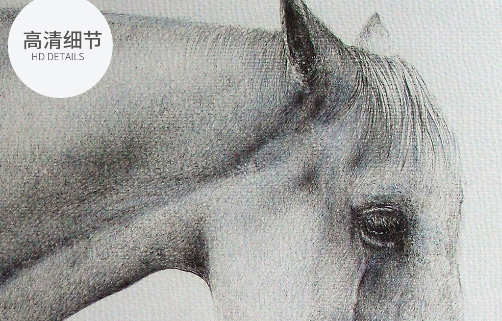 北欧极简客厅书房手绘素描白马装饰画