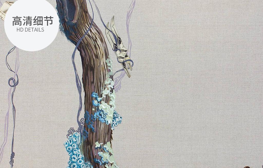北欧现代创意手绘小鸟树枝装饰画
