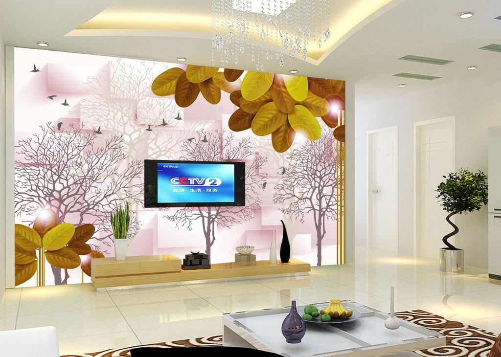 3d方块手绘抽象树背景墙