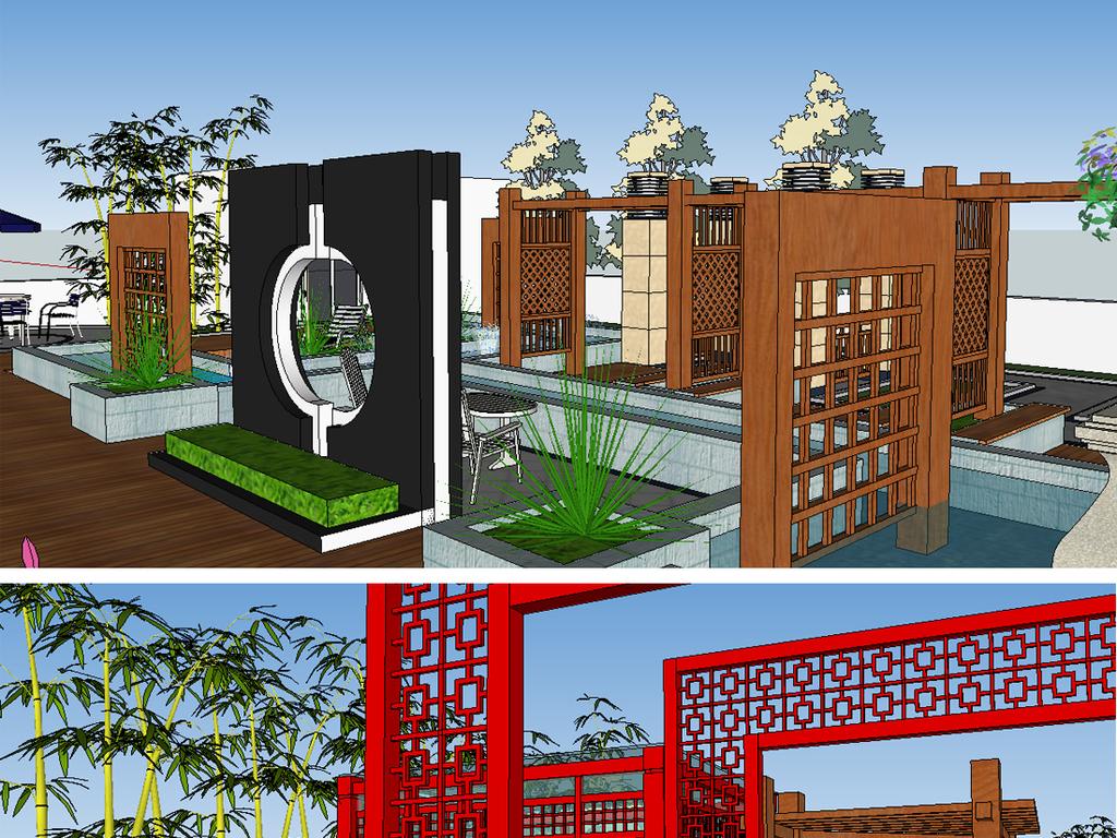 景观中式景观屋顶花园新中式风格新中式画新中式装饰画新中式背景墙图片