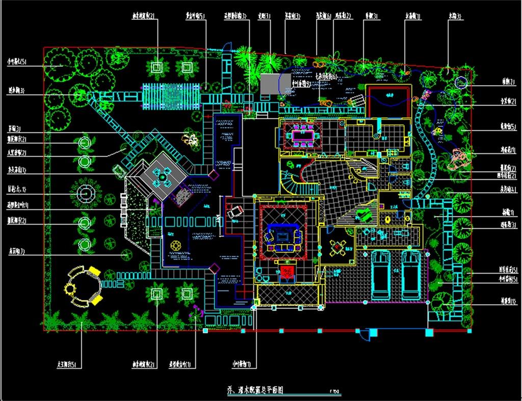 别墅小区cad总平面规划设计图