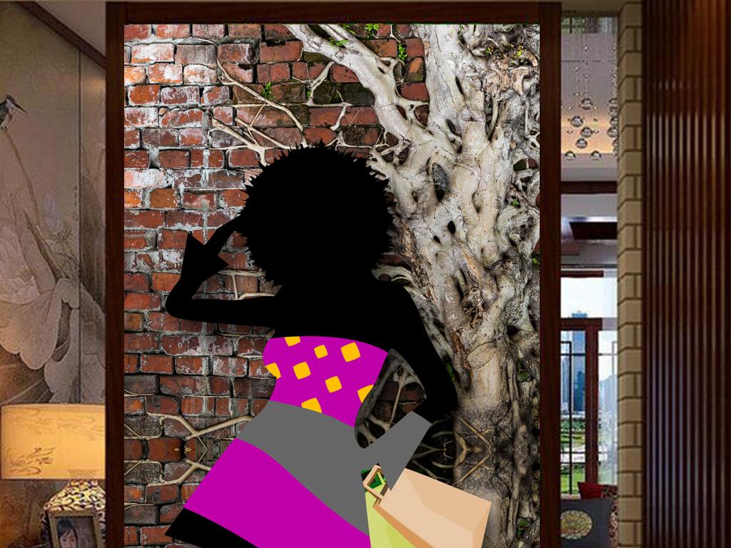 3d墙壁手绘剪影人物服装店鞋店工装玄关