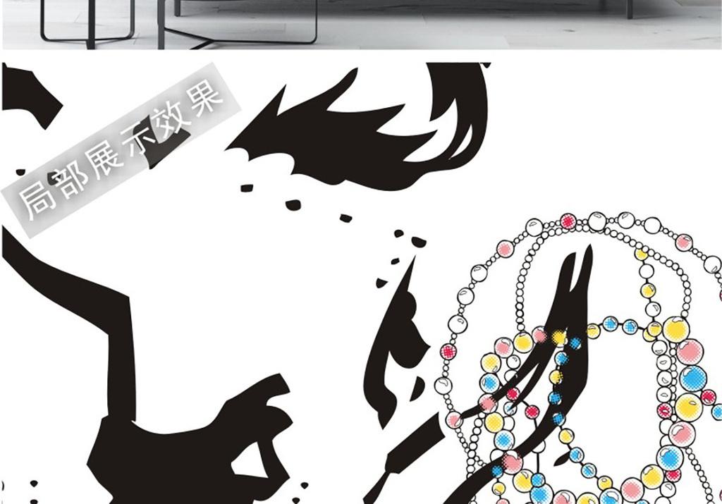女孩手绘手绘风格风格手绘插画手绘黑白北欧装饰画